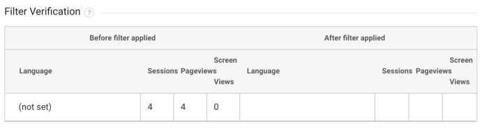Google Analytics Filter Verification