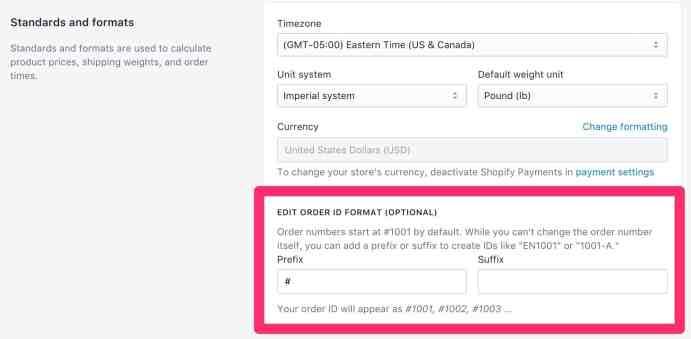 Shopify Order Number Format