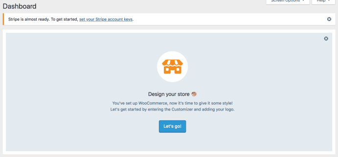 Admin Nag for Storefront and Stripe