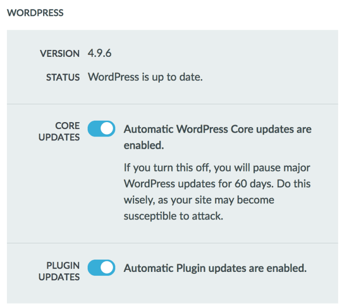Automated Update Settings in Liquid Web