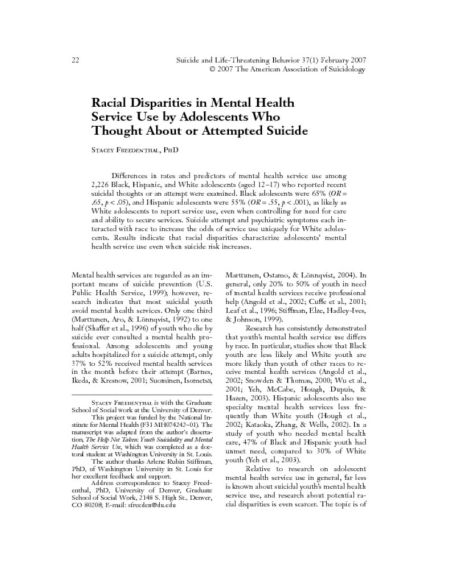 thumbnail of Freedenthal 2007 Race disparities in MH svcs