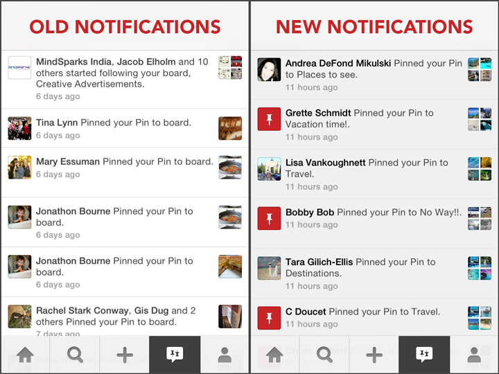 Pinterest Notifications Change