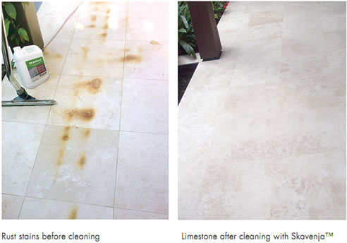 remove stains from limestone with gel