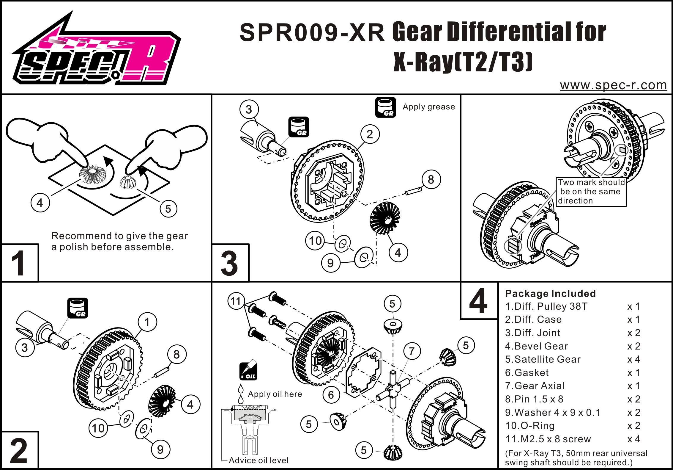Gear Differential Set 38t For X Ray T2 T3 Alu Outdrive Ver Spr009 Xr