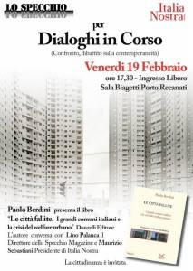 """""""Città Fallite"""", iniziativa dell'Associazione Lo Specchio, Porto Recanati 19 Febbraio 2016 presso la Sala Biagetti"""