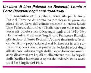 Un libro di Lino Palanca su Recanati, Loreto e Porto Recanati negli anni 1944-1946