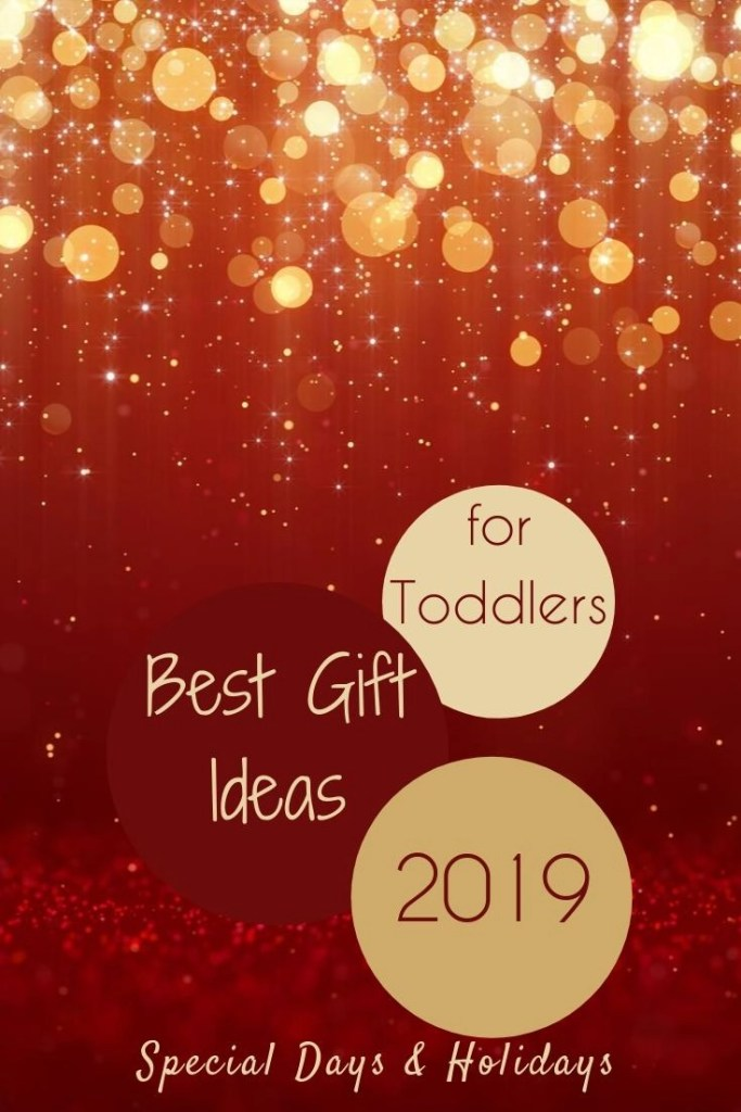 Best Toddler Gifts Pin image of red and gold background