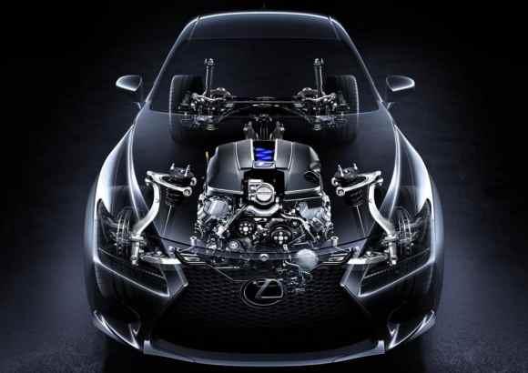 Le V8 5.0 l offre 450 chevaux sur cette Lexus RC-F Coupé