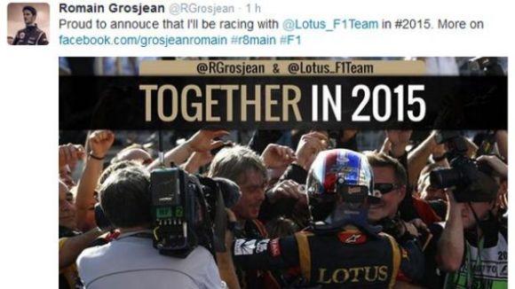 Romain confirme via un tweet, publié suite à une erreur de manipulation, qu'il reste chez Lotus en 2015 !