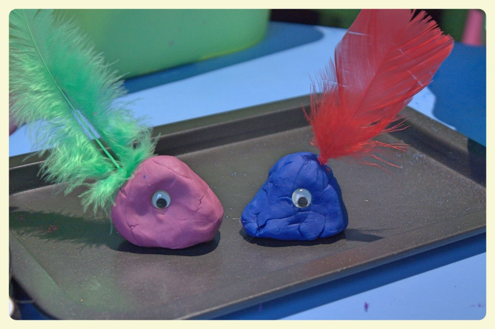 Purple & blue baby playdough monsters. Featured by Special Learning House. www.speciallearninghouse.com..jpg