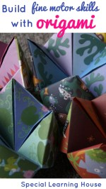 Use origami for children with special needs. Folding paper builds fine motor strength and precision and is a whole lot of fun! | speciallearninghouse.com