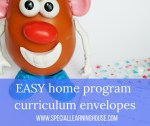 EASY home program curriculum envelopes. Special Learning House. www.speciallearninghouse.com.