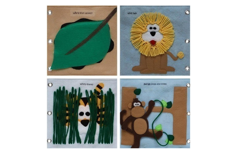 Leaf, lion, tiger and moneys made in felt in a quiet book
