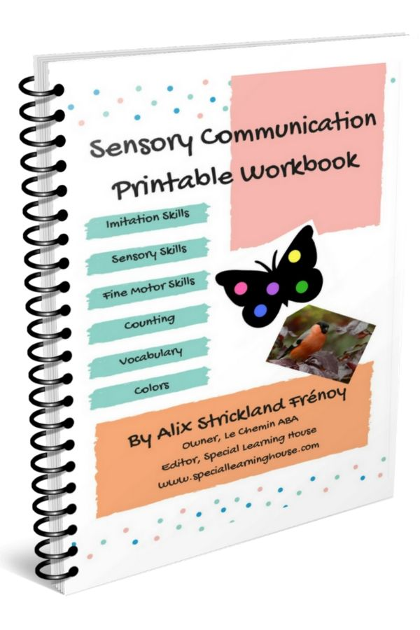 pink, aqua and orange sensory communication workbooks for kids on the autism spectrum