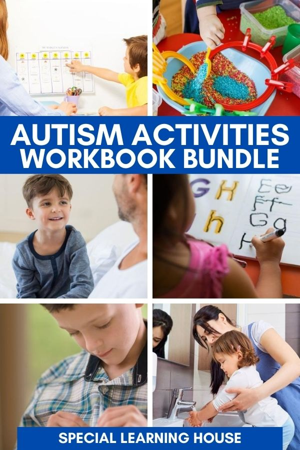 Autism Workbooks - kids with autism doing different activities