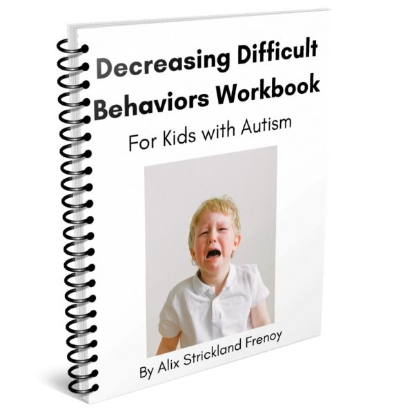 Autism Workbooks - a boy crying on the white cover of the Decreasing Difficult Behaviors Autism Workbook