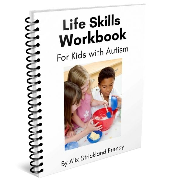 3 children cooking on the cover of an autism workbook