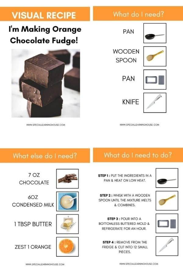 February Lesson Plans - Visual Recipe Chocolate Fudge