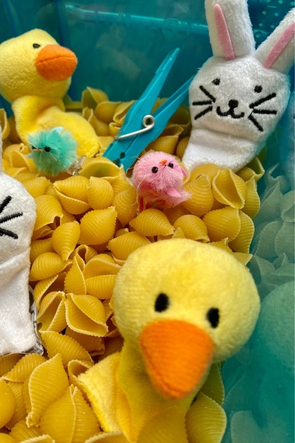 dried pasta Easter sensory box with ducks, chicks and bunnies