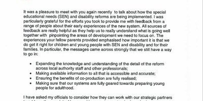 The SEN Minister responds to your feedback of the special needs reforms so far
