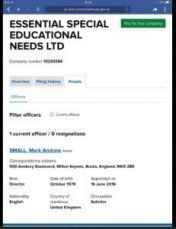 New companies house filing for Mark Small