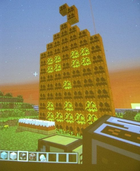 A pumpkin built for Halloween during one of our Minecraft Club sessions