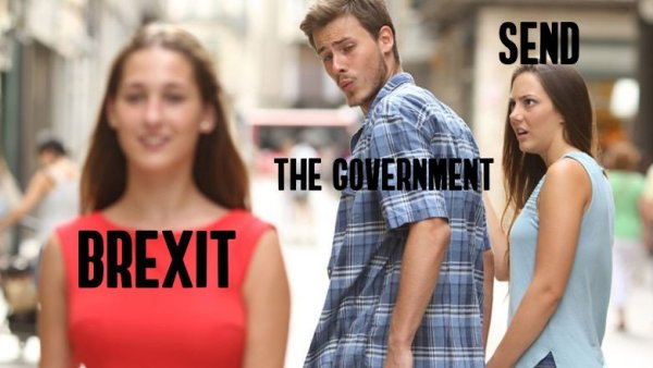 The distracted boyfriend meme with the government distracted from the send girlfriend by the attractive brexit girl passer by