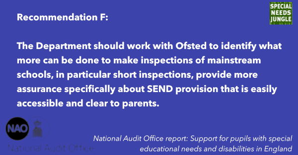 The Department should work with Ofsted to identify what more can be done to make inspections of mainstream schools, in particular short inspections, provide more assurance specifically about SEND provision that is easily accessible and clear to parents.