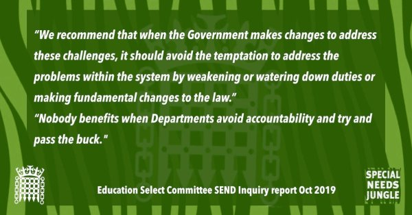 """""""We recommend that when the Government makes changes to address these challenges, it should avoid the temptation to address the problems within the system by weakening or watering down duties or making fundamental changes to the law."""" [Para 18] """"Nobody benefits when Departments avoid accountability and try and pass the buck. The Department for Education, together with the Department for Health and Social Care, should develop mutually beneficial options for cost- and burden-sharing with the health and social care sector."""" [Para 25]"""