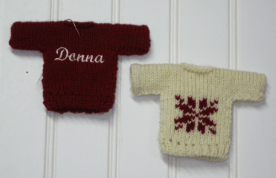 Personalized knit Christmas sweater ornaments