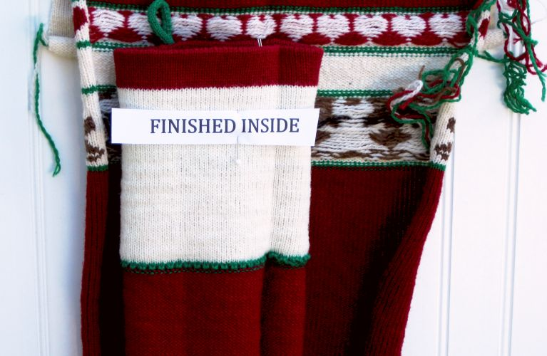 the hem is a knitted part of the stocking