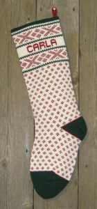 Nordic style skis cranberry Christmas stocking 100% wool knit