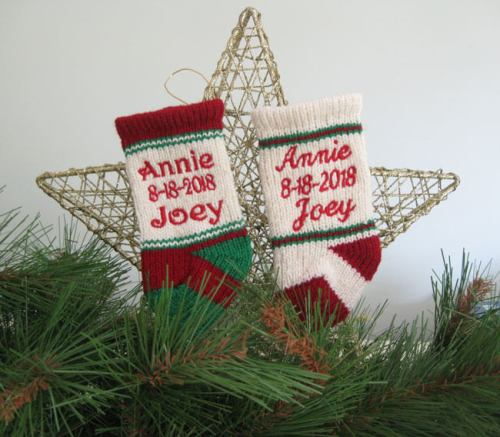 Christmas stocking ornaments on a star