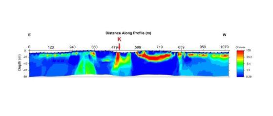 Inverted 2D model of a marine ERT survey