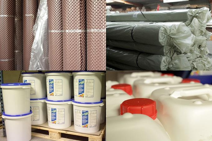 mortiers, des résines, des pâtes, des liquides formulés en usine, films et nappes de protection, accessoires de renfort et finition.