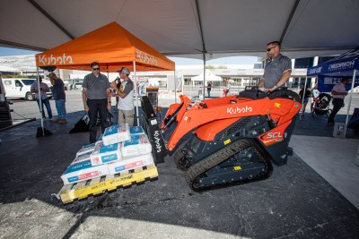 A Kubota SCL1000 makes light work of 880 lbs of SPEC MIX preblended mortar