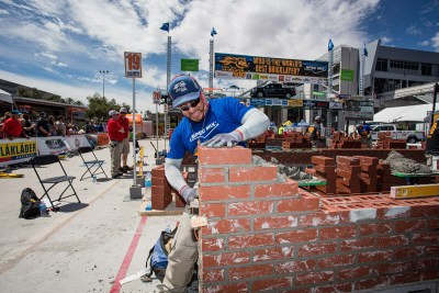Jacob Ramirez working hard to win the SPEC MIX BRICKLAYER 500 at the World of Concrete