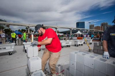 MCAA's Fastest Trowel competitor