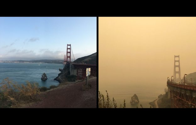 Golden Gate Bridge side by side comparison of wildfire smoke