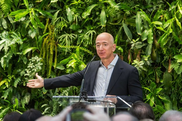 Jeff Bezos speaking at Amazon SPheres Grand Opening in Seattle