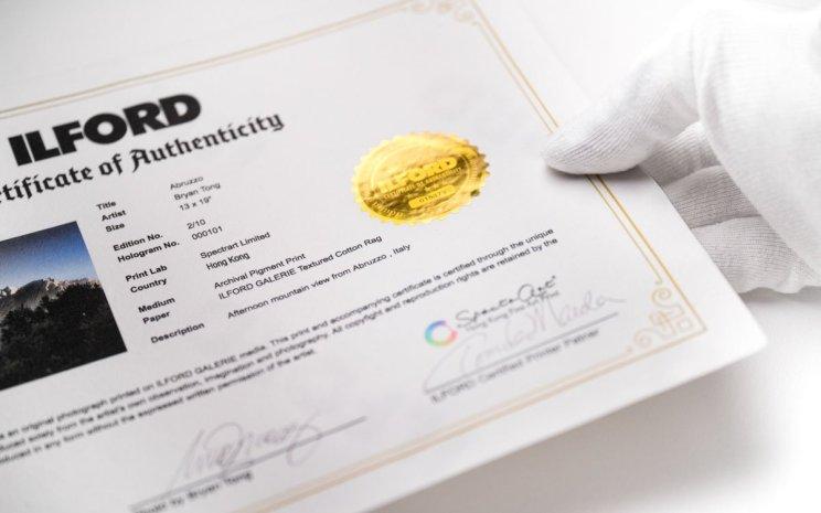 Fine Art Prints, Limited Edition Certificate authenticity