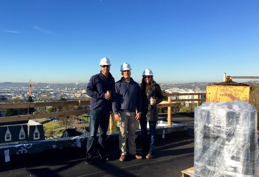 Jake, Matt, Kaitlin Reverb Rooftop during Construction 2016