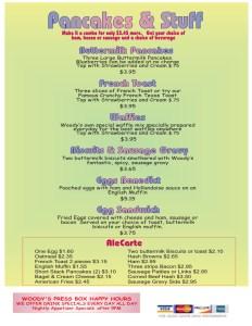 Pancakes and stuff menu
