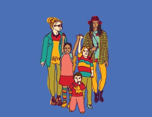 A Family First: An illustration of a lesbian couple with children at Pride.
