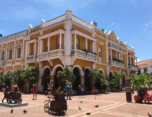A photo of Plaza San Pedro Claver in Cartagena in queer Colombia.