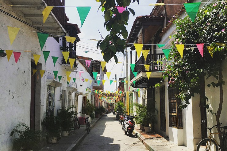 A photo of the Getsemani neighborhood in Cartagena in queer Colombia.
