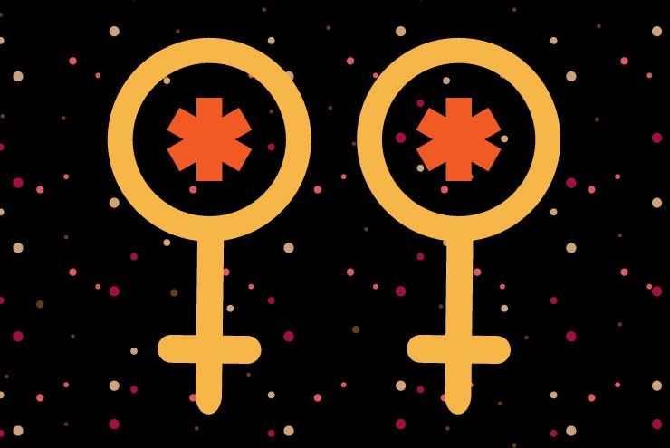 An illustration of lesbian STIs