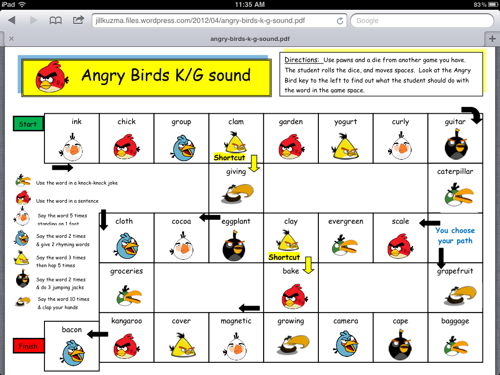 Angry Bird Articulation And Language Activities