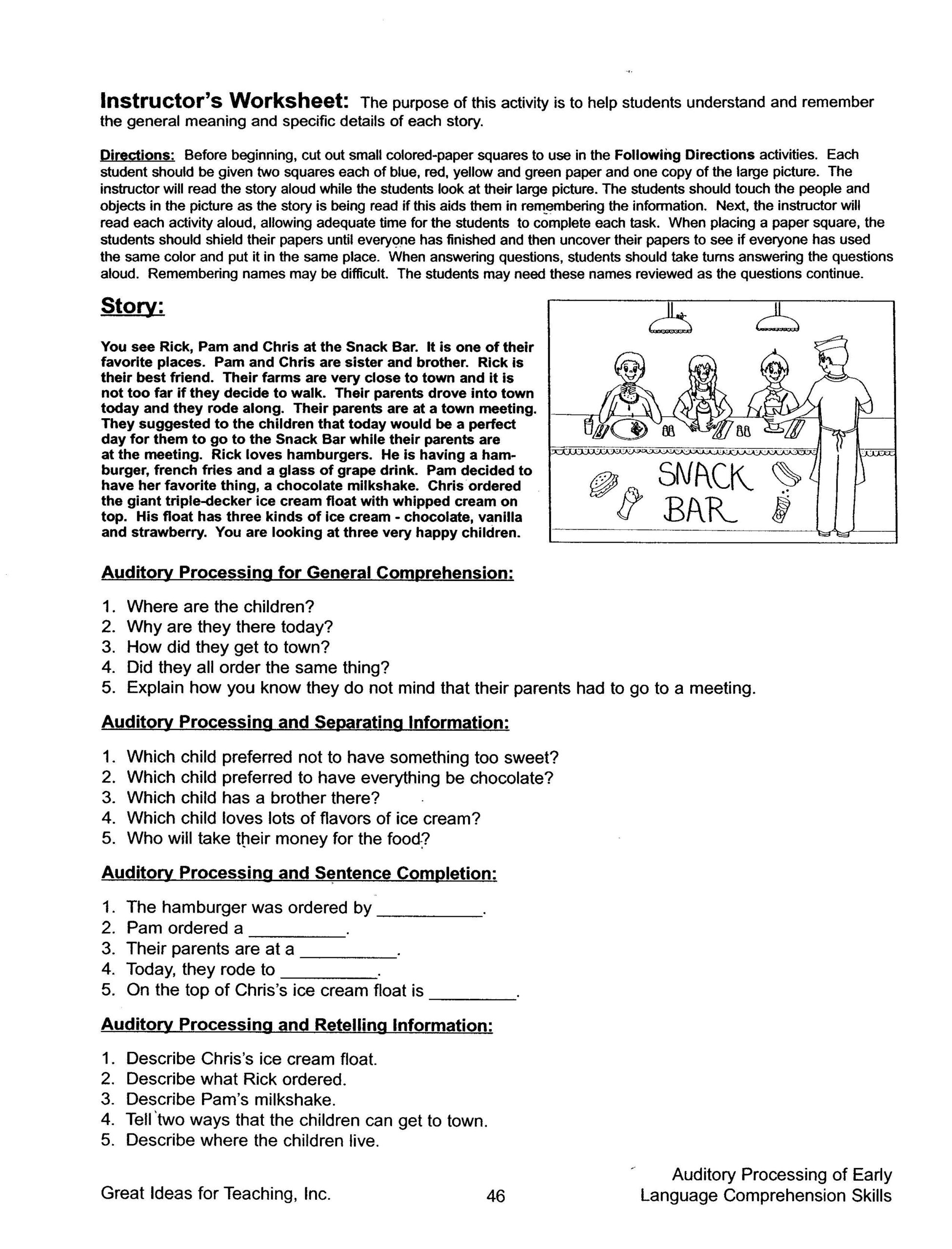Auditory Processing Of Early Language Comprehension Skills