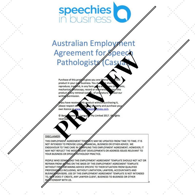 Australian Employment Agreement Template For Speech Pathologists (Casual)